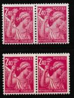 1944 Variété Sur Y&T 654 Paire Claire Avec Paire Normale N** - Curiosities: 1941-44 Mint/hinged