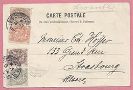 Sur CP CONSTANTINOPLE - Timbres Type Paix 4 Couleurs  - Cachet Poste Française Constantinople Para - 3 Scans - 1858-1921 Empire Ottoman