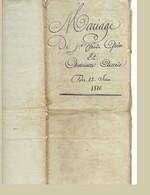 Contrat De Mariage Passé Devant Notaire Le 22 Juin 1810 3 Pages - Cachets Généralité