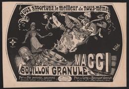 Publicité Papier 1906 Alimentation Potage MAGGI Caricature Dessin B . MOLOCH Vache Bouillon Legumes - Advertising