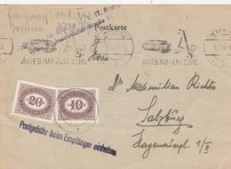 Autriche Carte Wien Taxée 1919 - 1918-1945 1. Republik