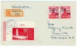Nr. 538 Bogenecke MIF Einschreibenaus Dresden - Michel 25 € - DDR