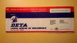 BIGLIETTO AEREO TICKET AIR DETA LINHAS AEREAS MOZAMBIQUE MAPUTO QUELIMAN 1977 - Carte D'imbarco Di Aerei
