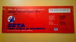 BIGLIETTO AEREO TICKET AIR DETA LINHAS AEREAS MOZAMBIQUE MAPUTO LISBON 1979 TIMBRO UFFICIALE DI MAPUTO - Europa