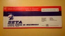 BIGLIETTO AEREO TICKET AIR DETA LINHAS AEREAS MOZAMBIQUE NAMPULC - Carte D'imbarco Di Aerei