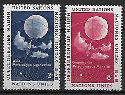 NATIONS - UNIES   -  1957 .  Y&T N° 48 / 49 **.   Météorologie  /  Ballon Sonde. - New York -  VN Hauptquartier