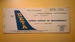 BIGLIETTO AEREO TICKET AIR DETA LINHAS AEREAS MOZAMBIQUE TETE MARQUES 1979 - Carte D'imbarco Di Aerei