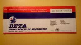 BIGLIETTO AEREO TICKET AIR DETA LINHAS AEREAS MOZAMBIQUE TETE MAPUTO 1979 - Carte D'imbarco Di Aerei
