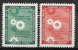 NATIONS - UNIES   -  1958 .  Y&T N° 62 / 63 **.   Conseil économique Et Social. - New York -  VN Hauptquartier
