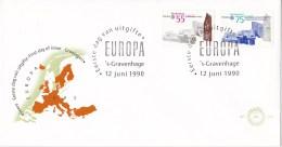 Nederland - FDC - Europa-CEPT 1990, Postkantoren - Veere/Groningen - NVPH E274 - Geography