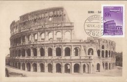 ROME COLOSSEUM, PLANE, CM, MAXICARD, CARTES MAXIMUM, 1967, HUNGARY - Maximumkarten (MC)