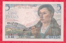 """5 Francs """"Berger"""" Du 22/07/1943.Z  ----Série B.48---AU/SPL ---TRES BEAU BILLET PETIT PRIX - 5 F 1943-1947 ''Berger''"""