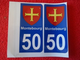 """2 Blasons Autocollant """"Montebourg"""" Plaque Immatriculation - Other Collections"""
