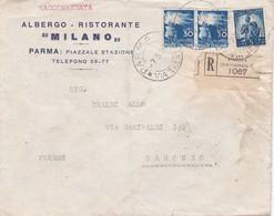 """BUSTA VIAGGIATA RACCOMANDATA - ALBERGO - RISTORANTE """" MILANO """" PARMA - 6. 1946-.. Repubblica"""