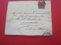 Marcophilie Timbre 10c Type Semeuse Fond Plein N°130 Mignonnette Seul S Lettre Carcassonne Pour Marseille - 1877-1920: Periodo Semi Moderne