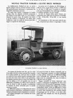 """NOUVEAU TRACTEUR """" PANHARD """" à 4 ROUES MOTRICES   1912 - Transportation"""