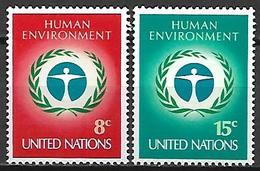 NATIONS - UNIES   -   1972 .  Y&T N° 222 / 223 **.    Conférence Sur L' Environnement à Stockholm. - New York -  VN Hauptquartier