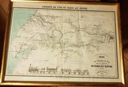 Très Rare Carte Ferroviaire Ligne Paris Le Havre 1838 Sous Cadre - Cartes