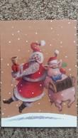 CPM PERE NOEL FAISANT LE FETE AVEC UN COCHON ACCORDEON PETER GUT WM MIT FROHLICHER SAU  INKOGNITO - Santa Claus