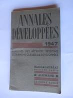 Livret ANNALES DEVELOPPEES De 1947 - BACCALAUREAT ALLEMAND - Editions SONZE - 50 Pages - 11 Photos - Vieux Papiers