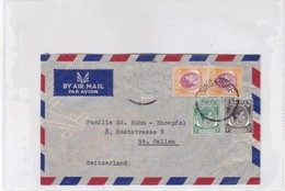 AIRMAIL ENVELOPE CIRCULEE MALAYSIA TO SUISSE CIRCA 1950's 3 COLOUR STAMPS A PAIR- BLEUP - Malayan Postal Union