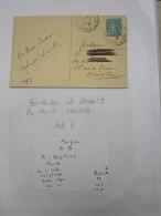 LETTRE Perforé Perforés Perfins Perfin-semeuse AB Bietron  Fromage Beurre Marseille 1938 Volx 04 --Melle 13 - France