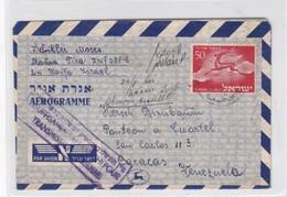 ENTERO ENTIER POSTAL STATIONERY AIRMAIL ENVELOPE CIRCULEE ISRAEL TO VENEZUELA 1951 AUTRES MARQUES FULL CONTENT I.- BLEUP - Airmail
