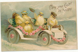 FANTASY - May Your Easter Be Happy - Chicks With Hats, Fancy Car, Unsigned Clapsaddle ?, By International Art Publ. Co. - Pasqua