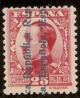ESPAÑA Edifil 598** Mnh  25 Céntimos Carmín  Recargados República  1931  NL979 - 1931-50 Neufs