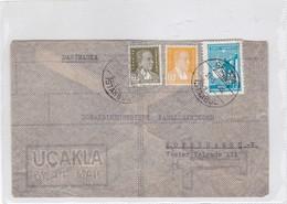 AIRMAIL ENVELOPE CIRCULEE GALATA ISTAMBUL, TURKEY, TO DENMARK 1946. 2 COLOURS STAMPS- BLEUP - 1921-... Republiek
