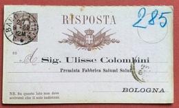 ALBANO LAZIALE SU INTERO POSTALE UMBERTO 1879 RISPOSTA  (88) STAMPA PRIVATA  27/8/89 - 1878-00 Humbert I