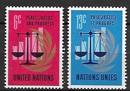 NATIONS - UNIES   -   1970 .  Y&T N° 206 / 207 **.    25 ° Anniversaire De L' ONU - New York -  VN Hauptquartier
