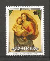 ZAIRE - 1983 RAFFAELLO Madonna Sistina (Gemäldegalerie, Dresda) Nuovo** MNH - Madonne