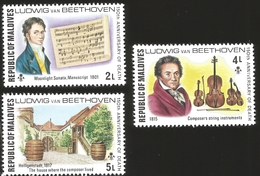 J) 1965 REPUBLIC OF MALDIVES, 150TH ANNIVERSAR OF THE DEATH, LUDWIG VAN BEETHOVEN, MUSICAL NOTES, THE HOUSE WHERE COMPOS - Maldives (1965-...)