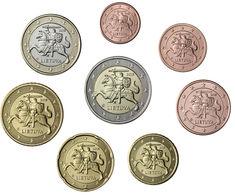 Monnaie Série 1 Centimes Cent Cts à 2 Euro Lituanie 2015, Neuves Du Rouleau, UNC - Lituania