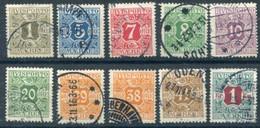 DENMARK 1914-15 Avisporto (newspaper Accounting Stamps) Perf. 14:14½ Set Of 10 Used.  Michel 1Y-13 - 1905-12 (Frederik VIII)