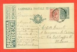 INTERI POSTALI PUBBLICITARI-CARTOLINE POSTALI-PUBBLICITARIE-R3/6 - BERGOUGNAN E TEDESCHI - PNEUMATICI-TORINO-DA CHIUSANO - Entero Postal