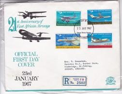 FDC-21st ANNIVERSARY OF EAST AFRICAN AIRWAYS. OBLITERE NAIROBI 1967. GRAND FORMAT ENVELOPE- BLEUP - Kenia (1963-...)