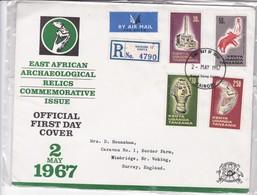 FDC-EAST AFRICAN ARCHAEOLOGICAL RELICS COMMEMORATIVE ISSUE. OBLITERE NAIROBI 1967. GRAND FORMAT ENVELOPE- BLEUP - Kenia (1963-...)