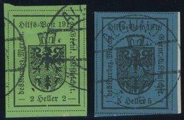 HILFSPOST MERAN 4,5Ia O,BrfStk , 1918, 2 H. Schwarz Auf Hellgrün Und 5 H. Schwarz Auf Dkl`blau, 1. Auflage, 2 Prachtwert - Meran