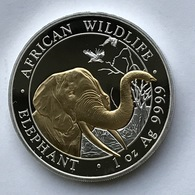Somalia  100 Shillings 2018 - African Wildlife - Elephant - Gold-plated - 1 Oz Silver - Somalia