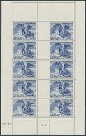 MONACO 296 **, 1944, 20 Fr. Fest Der Heiligen Dévote Im Kleinbogen (10), 1x Waagerecht Vorgefaltet, Postfrisch, Pracht - Monaco