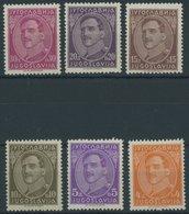 JUGOSLAWIEN 232-37I *, 1931, 4 - 30 Din. König Alexander, Falzreste, 6 Prachtwerte - Ohne Zuordnung