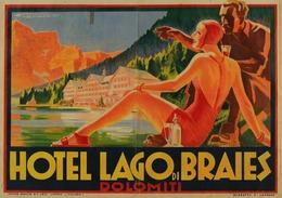 Italian Travel Postcard Hotel Lago Di Braies Dolomiti 1930 - Reproduction - Publicité