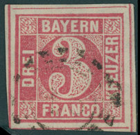 BAYERN 9 O, 1862, 3 Kr. Rosa Mit 4 Vollständigen Schnittlinien!, Offener Mühlradstempel, Kabinett - Beieren