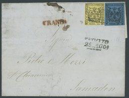 MODENA 3II,5I BRIEF, 1856, 15 C. Schwarz Auf Gelb (rechte Untere Ecke Berührt) Und Voll-breitrandige 40 C. Schwarz Auf B - Modena
