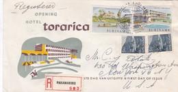 FDC. OPENING HOTEL TORARICA 1962. CIRCULEE TO USA RECOMMANDE- BLEUP - Surinam