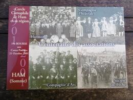 D 80 - Ham - 19e Bourse Aux Cartes Postales, 21 Octobre 2001 - Centenaire Des Associations - Ham