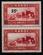 MAROC PROTECTORAT 1939-40 Y&T N° 161a PAIRE DU 161 AVEC ET SANS SURCHARGE N* - Unused Stamps