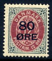 DENMARK 1915 80 Øre On 12 Øre Surcharge MNH / **.  Michel 83 I - 1913-47 (Christian X)